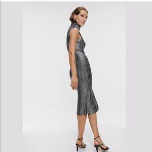 Zara silver metallic knit turtleneck midi dress